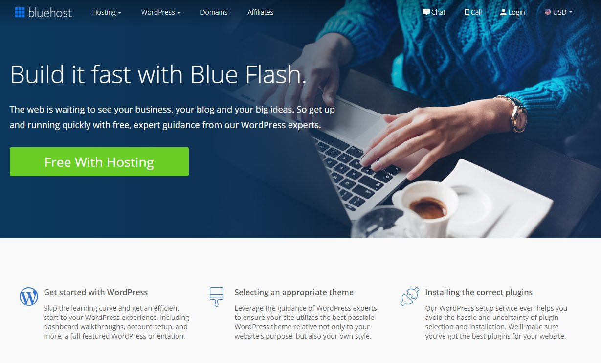 bluehost blå flash