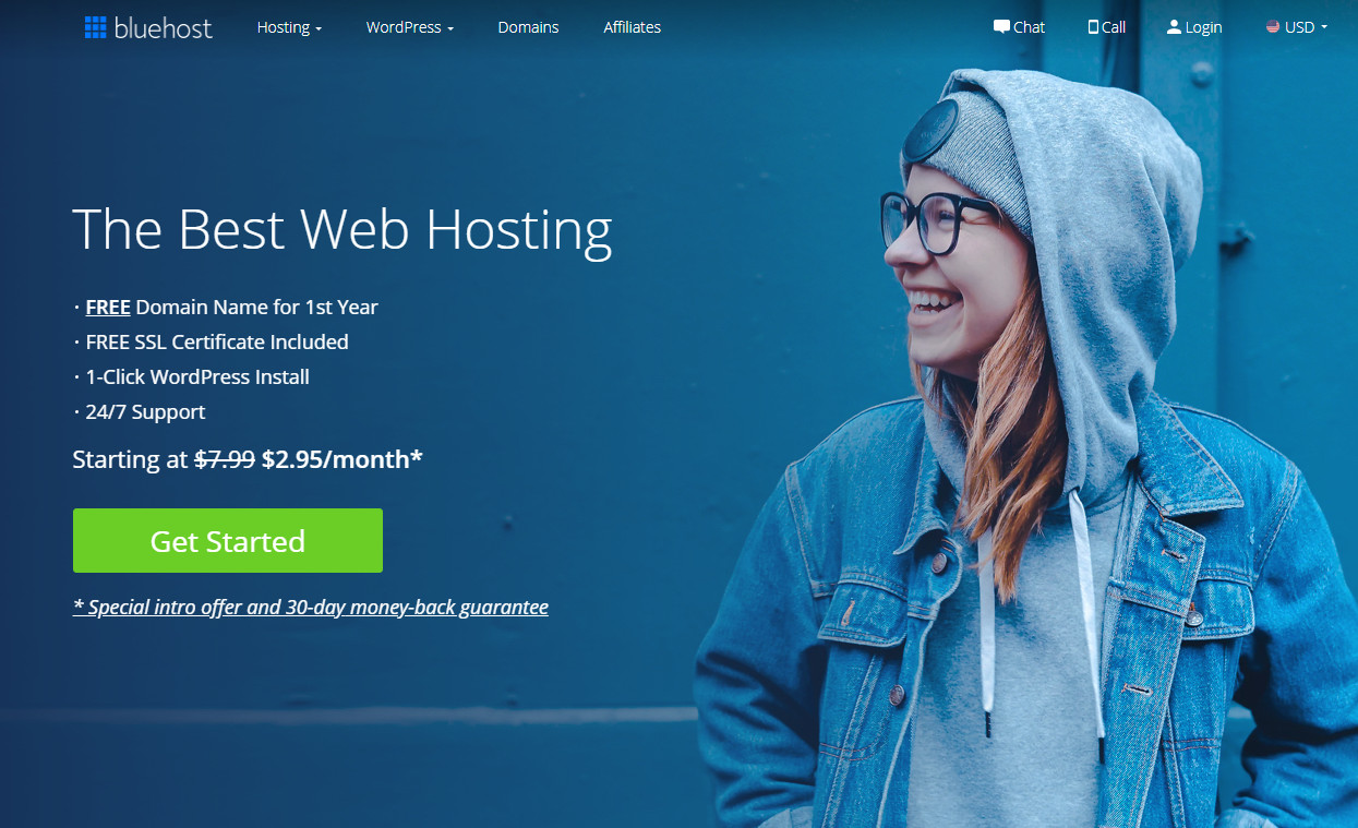 homepage do bluehost
